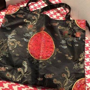 Asian Chinese Black Satin Silk Brocade Tote